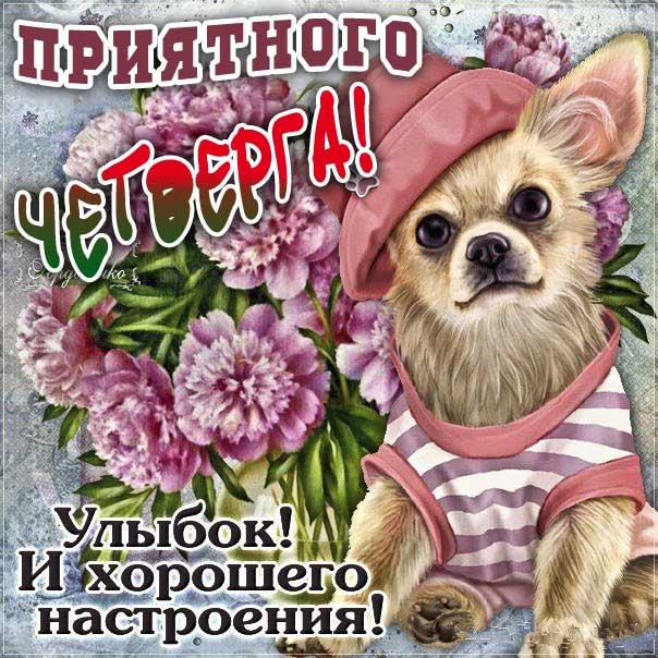Мерцающая картинка доброе утро четверга. Красивая надпись, мультяшка, собачка, цветы, щенок, стих, текст, мерцание, узоры, слова, бабочки.
