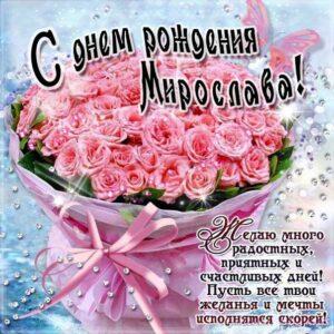 С днем рождения Мирослава картинки, Мирославе открытка с днем рождения, Мире день рождения, Мирославочка с днем рождения анимация, Мирочке именины картинки, поздравить Мирославу, для Мирославы с днем рождения, розовые розы