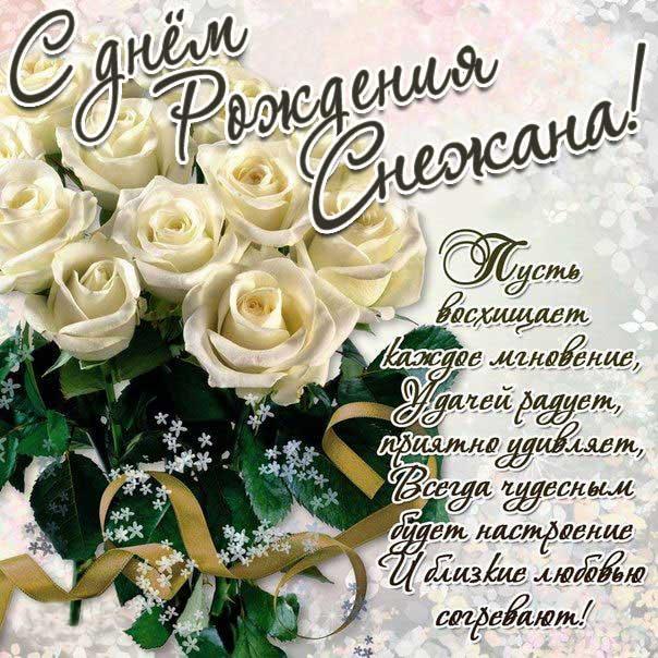 Снежана с Днем рождения поздравительная открытка. Розы, красивый букет, белые розы, слова, стих, поздравляю, эффекты, мигающая, узоры.