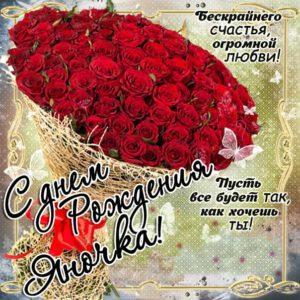Красивый букет роз открытка с надписью день рождения Яна