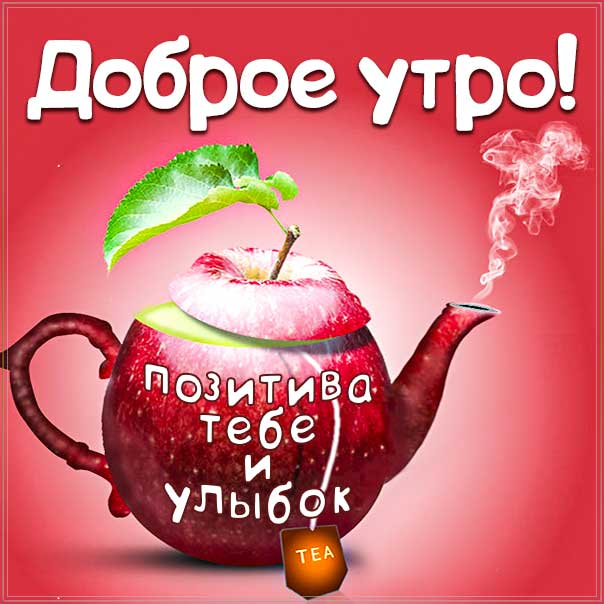доброе утро, с добрым утром, утренняя улыбка, веселая картинка утро, про утро картинка, утро чайник, приветствие утренне
